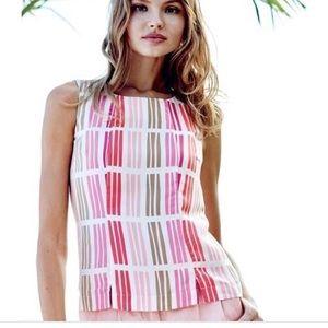 New Boden Sleevess Top Pink & Tan Silk Blend 14